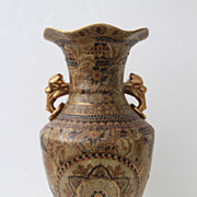 Large Japanese Vase Urn with Raised Porcelain Throught