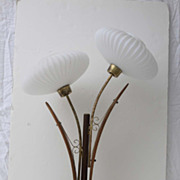 SOLD Mid-Century Modern Danish Large Teak, Brass and Floral White Glass Table Lamp Light