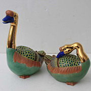 Sadek Enamel & Porcelain Ducks Pair Green Gold
