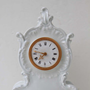Limoges France White Porcelain  and Brass Mantle Clock