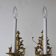 Pair of Estate Brass French Wall Sconces Lights Single Arm Electrified Lighting