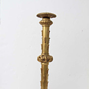 "SOLD Large Brass Ornate Candlestick Holder with Intricate Carvings 28"" Tall"