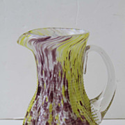 Hand Blown Water Pitcher with Lime Green and Purple Colors