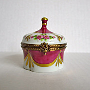 Limoges Paris France Vintage Porcelain Hand Painted Jewelry Box Brass