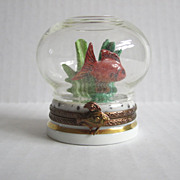 Limoges Paris France Vintage Porcelain Hand Painted  Box Glass Globe Fish Tank  Brass