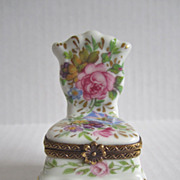 Limoges Paris France Vintage Porcelain Hand Painted Chair Trinket Box Brass