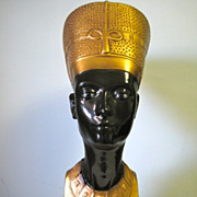 SOLD Egyptian Queen Nefertiti Black & Gold Bust Statue Art Sculpture