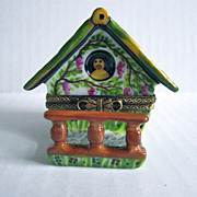 Limoges Paris France Vintage Porcelain Hand Painted Gingerbread House Trinket Box Brass