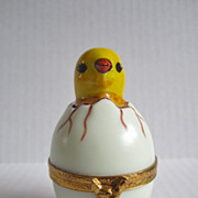 Limoges Paris France Signed Vintage Porcelain Hand Painted Chicken & Egg Trinket Box Brass