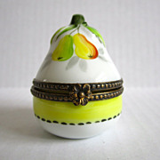 Limoges Paris France Vintage Porcelain Hand Painted Acorn Trinket Box Brass