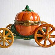Limoges Paris France Exclusive Vintage Porcelain Hand Painted Pumpkin Chariot Stagecoach Box B