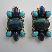 SOLD Georg Jensen Sterling Silver and Gemstone Vintage Earrings