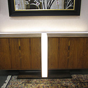 SOLD Mid-Century Modern Danish Large Lighted Teak Buffet Sideboard Bar Server Cabinet