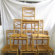 SOLD Set of Signed Mid Century Modern McGuire Bamboo Dining Chairs