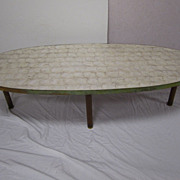SOLD Mid-Century Modern Danish Shell Coffee Table White Sea Shells