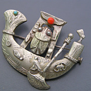Vintage Art Deco Egyptian Revival 800 Silver Scarab Pin Brooch Pendant for Necklace