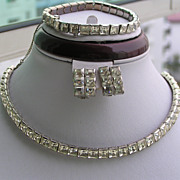 Vintage ARt Deco Channel Set Paste Rhinestones Necklace earrings Bracelet Demi
