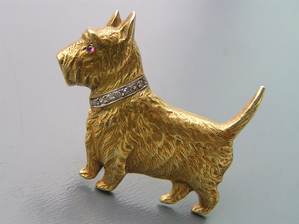 Vintage Solid 14kt Yellow Gold Scottie Dog Diamond Collar Pin Brooch