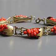 SALE Antique Victorian Genuine Coral Grape Cluster Charm Bracelet