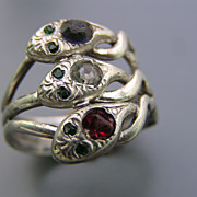 Antique Victorian Sterling Silver Paste Stone Serpent Snake Ring