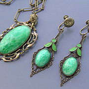 Vintage Art Deco Peking Glass Enamel Pendant Necklace Earrings Demi