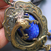 SALE PENDING Fabulous Czech Dragon Glass Tassel Sautoir Pendant Slide Necklace