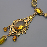 Vintage Art Deco Czech Vauxhall Mirror Amber Glass Pendant Necklace