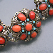Wide Antique Austro Hungarian Silver Ox Blood Coral Cluster Bracelet