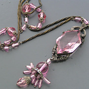 Vintage Art Deco Pink Crystal Glass Signed Czech Tassel Sautoir Flapper Necklace