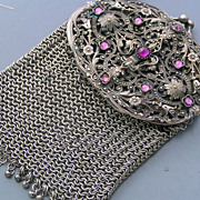 Antique Jeweled Amethyst Mirror Glass Chatelaine Mesh Coin Purse