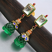 Artisan Mughal Inspired Foil Glass Enamel Dangle Earrings