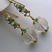 Artisan Foil Glass Enamel Craved Pools of Light Crystal Dangle Earrings