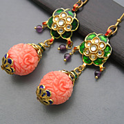 Artisan Mughal Inspired  Enamel Carved Glass Dangle Earrings