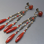 Vintage Czech Filigree Glass Long  Dangle Earrings