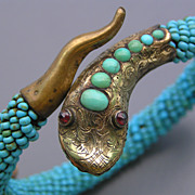 Antique Gold Filled Turquoise Coiled Snake Bangle  Garnet Eyes