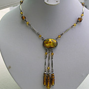 Vintage Art Deco Czech Amber Foil Back Glass Lariat Pendant Necklace