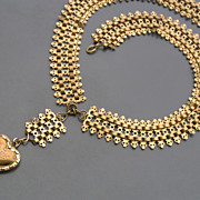 Antique Victorian Gold Fill Heart Charm Bookchain Necklace