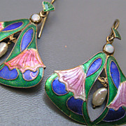 Chinese Gilt Silver Enamel Opal Dangle Earrings
