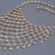 SALE PENDING Huge Vintage Egyptian Revival  Filigree Flower Bib Necklace