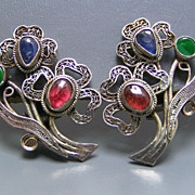 Vintage Chinese Gemstone Silver Filigree Flower Earrings