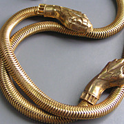 Vintage Egyptian  Revival Two Headed Snake Collar Necklace