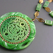 Vintage Large Asian Chinese Inspired Faux  Jade Pendant Necklace