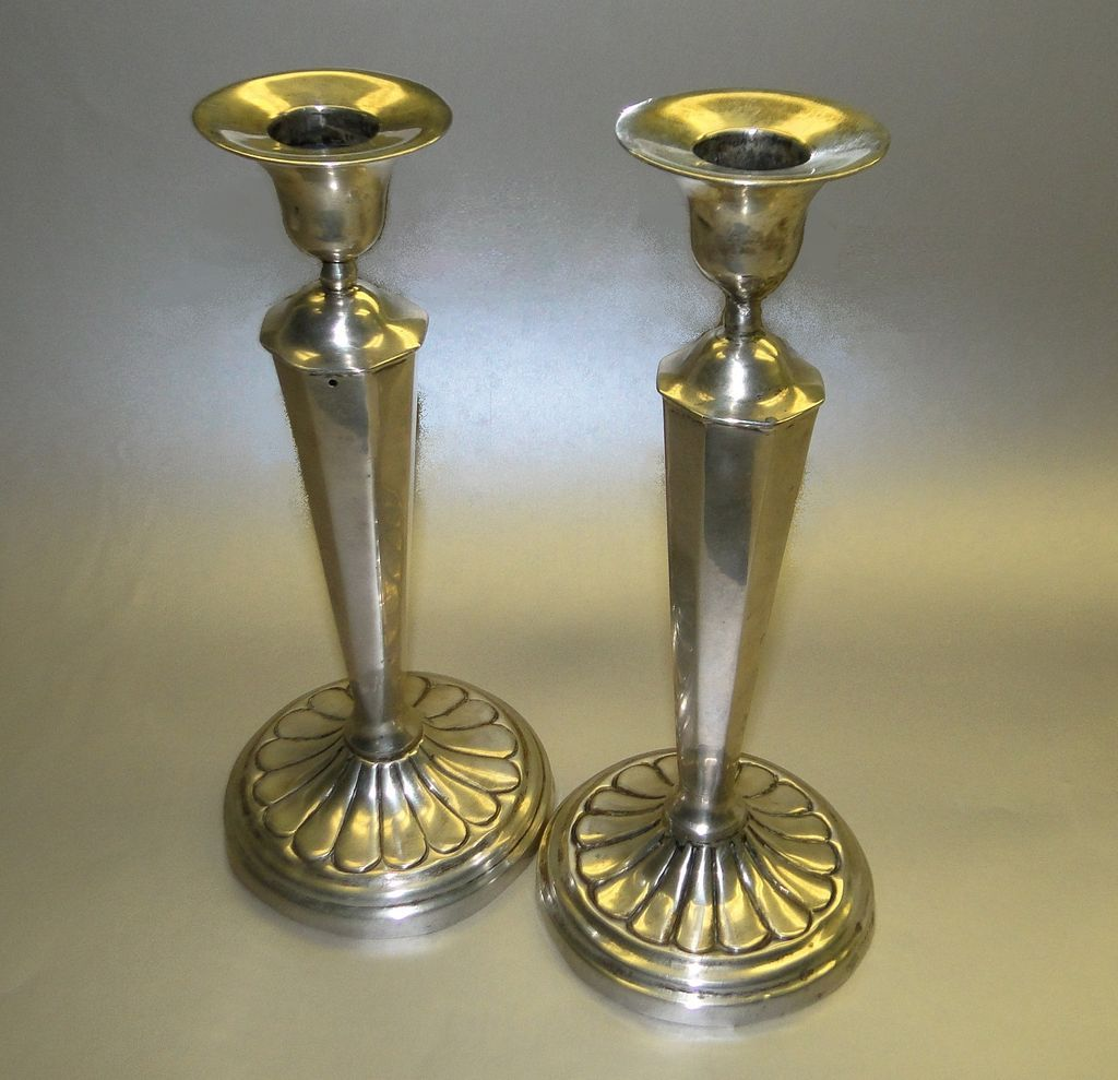 antique arts and crafts silver candlesticks pair in