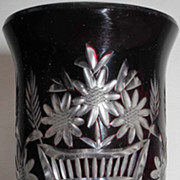 19s Century Dark Ruby red incised cristal vase