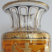 End 19s Century cristal vase  with an Antique decoration black on amber