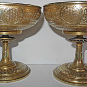End 19s Early 20s Century pair of French incised bronze chalices