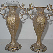 Pair of French 18 or 19s Century Renaissance style silvery metal vases