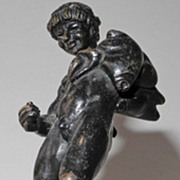 Early 19s Century Bronze statue of a faun drinking