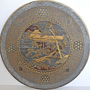 19s Century Pair of Koma Style Japanese iron plates decorated with scenes