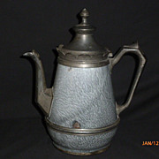 SOLD Antique Gray Graniteware & Pewter Coffee Pot